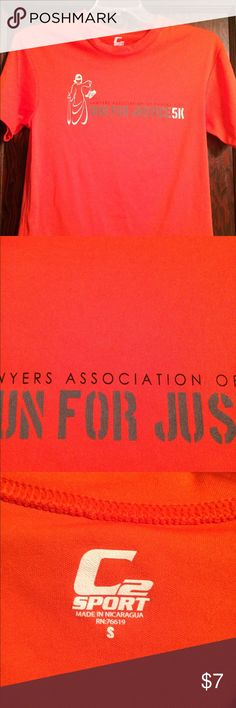 Run for Justice 5K dri-fit tshirt This bright orange shirt is great for summer training runs. It is dri-fit, but the off brand version. Runs big for a small. ✅Make me an offer, I'm trying to clean out my closet😊 🚫TRADES✅ Tops Tees - Short Sleeve