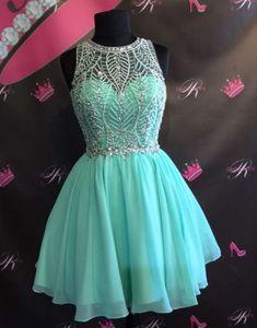 Green round neck chiffon beaded short prom dress, cute homecoming dress from…