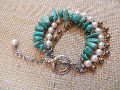 Women's Bracelet Adjustable Turquoise Vintage Pearl