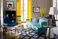 Jonathan Adler   One of our favorite living room sets with a beautiful turquoise #bluesofa.   www.bocadolobo.com #modernsofas #sofasideas fa