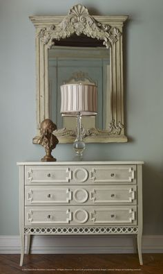 01-1752 PROVENCE 3-DRAWER CHEST – Shown in Habersham's Charleston Grey hand-styled finish, this design can lend a touch of casual elegance to any room.  Circular accents, crystal drawer pulls and classic design lines complete the look.