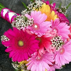 #wedding #prom #gerber daisy with rhinestone centers Country Treasures Florist