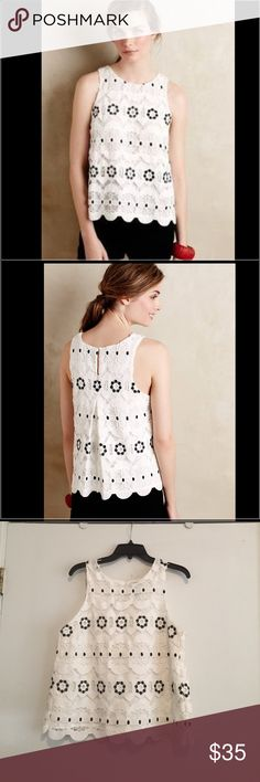 NEW ❗️ ANTHROPOLOGIE lace top Sleeveless lace top. Cotton material. HD in Paris BY ANTHROPOLOGIE Anthropologie Tops