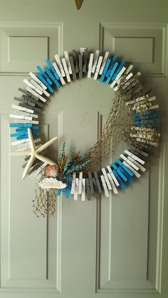 Beach clothespin wreath.