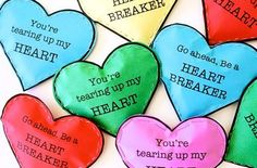 """""""Heartbreaker"""" Valentine's Day cards for kids by @Dana Curtis Willard. Just tear open the card to reveal the secret candy!"""