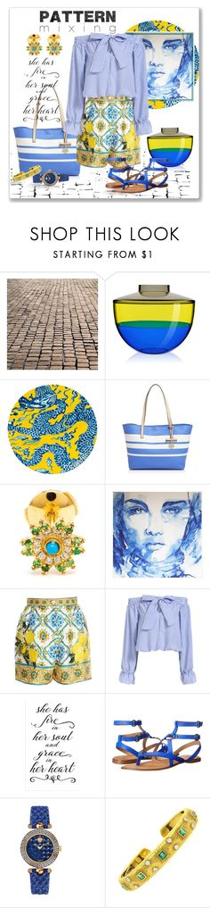 """Head-to-Toe Pattern Mixing"" by love-n-laughter ❤ liked on Polyvore featuring Kartell, Gandía Blasco, Kate Spade, Yvonne Léon, Dolce&Gabbana, Joe's Jeans, Versace and Buccellati"