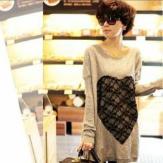 $7.31 Hot Sales Cute Round Neckline Heart Patterns Lace Embellished Bat-Wing Long Sleeves Dress For Women