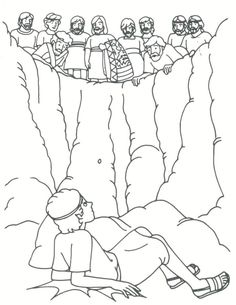 Joseph and his brothers in the well coloring sheet