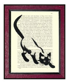 CAT Wall Decor Book Page Art Upcycled Dictionary by DogEarPrints, $10.00