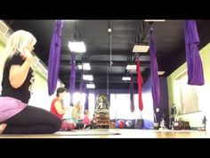 AIReal Yoga : Gentle Slow Flow Aerial Yoga full class Carmen Curtis - YouTube