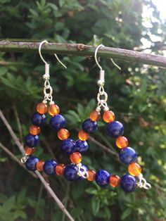 Lapis Lazuli And Agate With Metallic Silver Seed Beads Triangle Earrings, Blue Orange Earrings, Bold Jewellery, Statement Earrings, UK Shops by MadeByMissM on Etsy