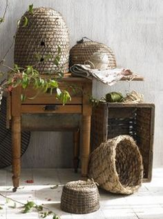 ≗ The Bee's Reverie ≗ woven bee skeps vignette | estherfeinman.com