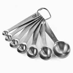 Set of Stainless Steel Measuring Spoons - Keto / Low Carb Desserts - Kitchen Tools Kitchen Tools, Kitchen Gadgets, Kitchen Stuff, Kitchen Dining, Kitchen Products, Kitchen Ideas, Apple Muffins, Kitchen Essentials, Measuring Spoons