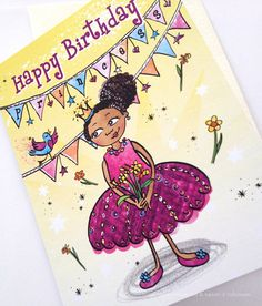 Birthday Princess Multicultural Greeting Cards by nyhagraphics, £2.00  #GreetingCard #Multicultural #MixedRace #Biracial #AfroAmerican #GreetingCardDesigner #IndiePublisher #Etsy #BlackGreetingCards #MulticulturalGreetingCards #Birthday #BlackPrincess #AfroPuff