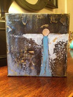 5x5x1.5 Blue Angel on Canvas by LMitchellArt on Etsy, $34.00