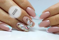 Blue and white french nails Butterfly nail art Butterfly nails Double french manicure Fashion nails 2018 Long nails Manicure 2018 Summer nails 2018 Butterfly Nail Designs, Butterfly Nail Art, Blue Butterfly, White French Nails, French Tip Nails, Summer French Nails, French Tips, White Nail, French Blue