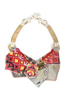 "LIZZIE FORTUNATO-USA jewels FRIVOLOUS TONIGHT NECKLACE Gold-plated Denim, pink silk cord, clear crystals Length 22"" Necklace falls 4"" Closure, Hook eye"