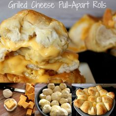 Grilled Cheese Pull-Apart Rolls - Stuff em', Butter em', and Bake em'.... Heaven!