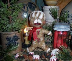 "Primitive Patti's Ratties Gingerbread 7"" Snowflake Christmas Ornament Doll Bear"