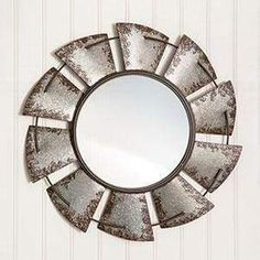 Vintage Decor Diy Rustic Large Windmill Wall Mirror - Looking glass measures in diameter. Overall measurement is diameter Hangs using a keyhole hanger Made of metal Farmhouse Mirrors, Rustic Mirrors, Country Farmhouse Decor, Farmhouse Décor, Farmhouse Furniture, Vintage Farmhouse, Country Chic, Cross Country, Wall Mirrors Metal