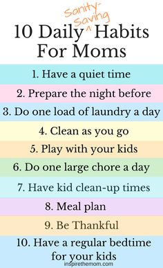Looking to bring the stress of motherhood down to a more manageable level? Try incorporating some daily, sanity-saving habits.