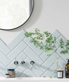 Bathroom Tiles – Rock My Style Metro Tiles Bathroom, Bathroom Toilets, Bathroom Splashback, Bathroom Wall, Pastel Bathroom, Duck Egg Blue Bathroom, Pastel Sky, Downstairs Toilet, Herringbone Tile