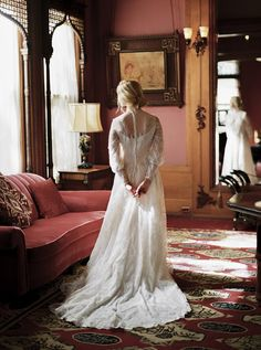 Victorian Inspired Bride in a Long Sleeve Wedding Dress