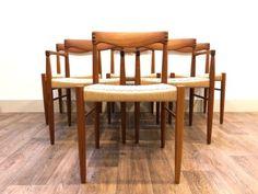 Danish-Dining-Chairs-Teak-Rosewood-Paper-Cord-Hw-Klein-Bramin-Mid-Century-Retro