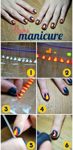Make your own nail decals using the plastic baggie method. | 32 Easy Nail Art Hacks For The Perfect Manicure