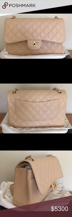 💯 Authentic Chanel Jumbo Beige Caviar GHW 💯 Authentic Chanel Jumbo Beige Clair Caviar Leather GHW. Comes with the box, dust bag, authenticity card, clean cloth, receipt, and tag. Lower price available. $4170 CHANEL Bags