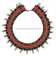 Free Necklace of Hohloma Beading Pattern by Maria Kniazeva aka Magic at Sova-Enterprises.com