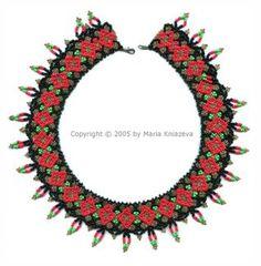 Free Necklace of Hohloma Beading Pattern by Maria Kniazeva aka Magic at Sova-Enterprises.com