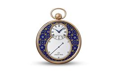 Jaquet Droz Pocket Watch Paillonnée - Jaquet Droz's latest pocket watch, which it presented at BaselWorld 2014, combines the former timekeeping instrument with an enameled dial. The result is a showcase of the brand's mastery of traditional craftsmanship. This 50mm Pocket Watch with Paillonné enameling marries azure and gold for a beautiful dial, which houses the calibre 2615, a hand-winding mechanical movement with 40 hours power reserve.