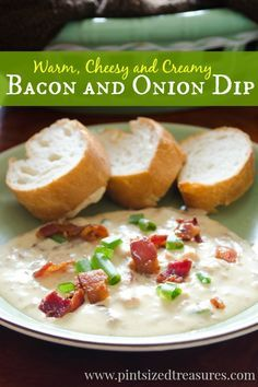 This is the perfect party dip with its creamy cheesiness that is complemented with fresh bacon and green onions. Ready in just a few minutes! #cheesydips #dips #appetizers