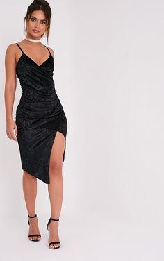 Prina Black Crushed Velvet Strappy Wrap Over Midi Dress | Dresses | | PrettyLittleThing USA