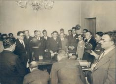 1928 Photo Radio Broadcast Mexico City People Business Men Vintage Original