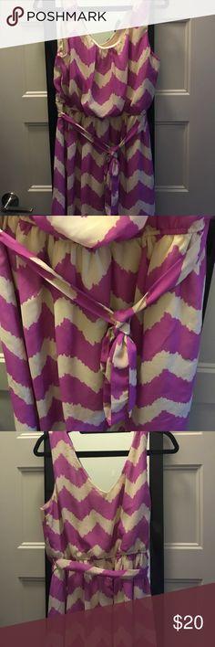 Chevron dress 🎉 EUC chevron dress. It's a light purple and cream. I got from a trade but it's too big on me now Lily Rose Dresses Midi