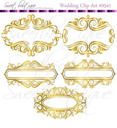 GOLD Floral Frame Ornaments Decoration Graphics by MSweetboutique, $5.99