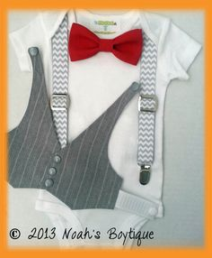 1st Birthday Outfit Boy - Boys First Birthday Outfit - Baby Boy Suspender Outfit - Grey Vest Red Bow Tie Chevron Suspenders by Noah's Boytique, $32.00