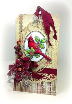 Layered Poinsettia, Decorative Labels Twenty-Eight and Scalloped Borders Two -  Spellbinders dies