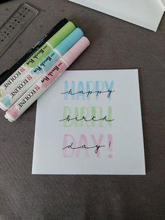 Happy Birthday Cards Handmade, Birthday Gift Cards, Bday Cards, Calligraphy Birthday Card, Calligraphy Cards, Birthday Doodle, Birthday Card Drawing, Tombow Fudenosuke, Karten Diy