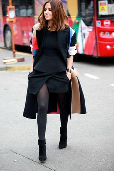 All black outfit with colorful details