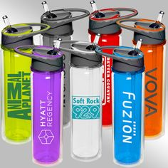 "19 oz DOUBLE WALL Tritan sports bottle. Screw on two tone lid with flip-up spout / straw and built-in carry handle. Available in red, blue, smoke, lime, purple, orange and clear. One color/two location imprint included. 6 day production. 10.5"" tall x 3"" diam. & 4"" wide including handle."