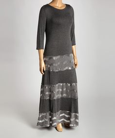 Another great find on #zulily! Charcoal & Silver Chevron Stripe Drop-Waist Dress - Plus by  #zulilyfinds
