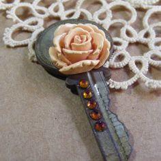 Rose Embelished Vintage Key Pendant by AngiesIris on Etsy