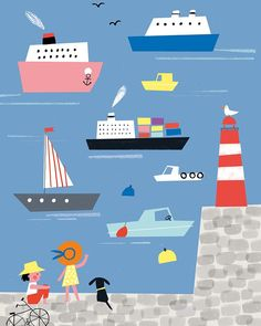 Illustration by Ekaterina Trukhan Landscape Illustration, Children's Book Illustration, Graphic Design Illustration, Animation Storyboard, Map Projects, Summer Patterns, Beautiful Drawings, Childrens Books, Illustrators