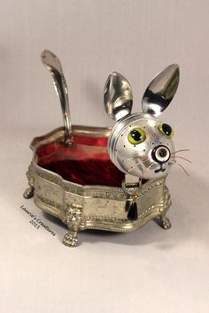 'Purrcilla' ~ Found object/junk art created by Laurie Schnurer in 2015. To purchase one of Laurie's Creatures go to https://www.facebook.com/LauriesCreatures.