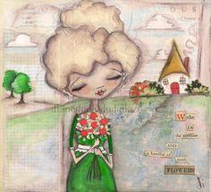 Original Painting on Wood  by Diane Duda  Everyday Blessings -  Sunshine Walks and Flowers.  ©dianeduda/dudadaze