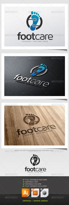 Foot Care Logo #GraphicRiver Logo of a footprint with some highlighted zones Can be used for many kind of project. Full vectors, this logo can be easily resize and colors can be changed to fit your colors project. Flat version for print also included. The font used is in a download file in the package. Font : .fontsquirrel /fonts/maven-pro Files provided : .ai (CC and CS), .eps, .jpg, .png (transparent) Created: 13August13 GraphicsFilesIncluded: TransparentPNG #JPGImage #VectorEPS…