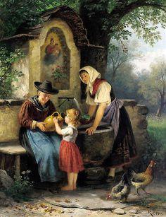 A Cool Sip - Rudolf Epp (1834-1910) German (+)